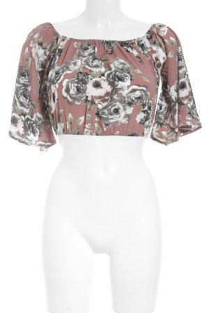 Langarm-Bluse florales Muster extravaganter Stil