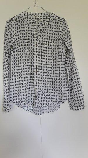Langarm-Bluse gemustert Rundhals weiß dunkelblau Baumwolle