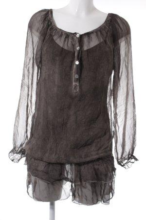 Langarm-Bluse graubraun Casual-Look