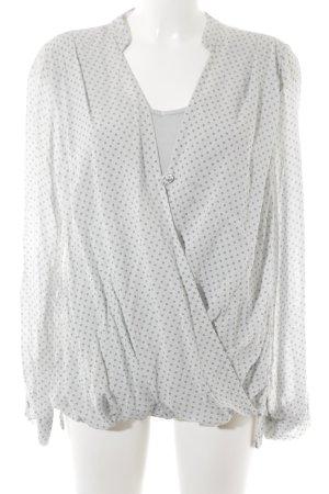 Langarm-Bluse hellgrau-grau Blumenmuster 90ies-Stil