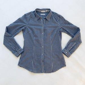 Langarm Bluse, Kariert / Karo blau weiß, Esprit, Gr. 36 mit hochknöpfbaren Ärmeln