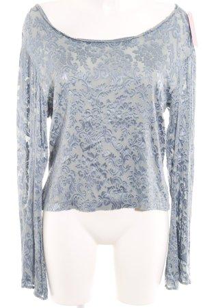 Langarm-Bluse kornblumenblau Blumenmuster Samt-Optik