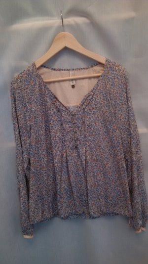 Langarm-Bluse, Maison Scotch, geblühmtes Muster blau-rosa, Gr. XS