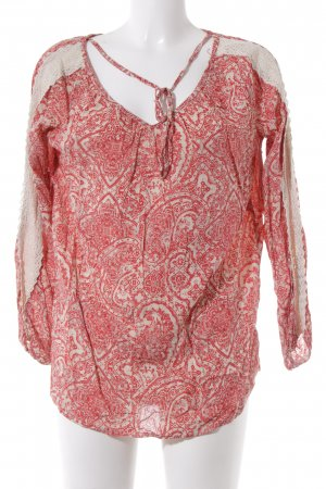 Langarm-Bluse rot-creme Kunstmuster Casual-Look