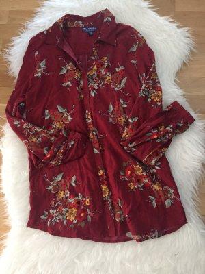 Langarm - Bluse Rot mit Blumenmuster