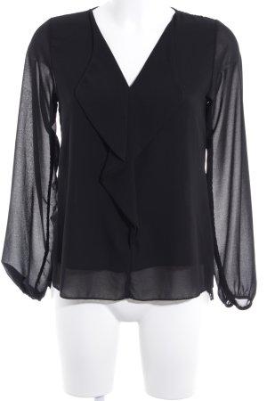 La Petite Parisienne Langarm-Bluse schwarz Casual-Look
