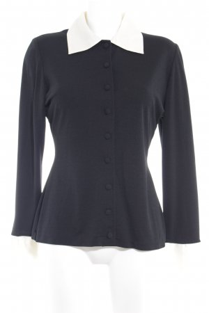 Langarm-Bluse schwarz-creme Business-Look