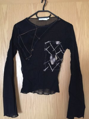 Long Sleeve Blouse black-white
