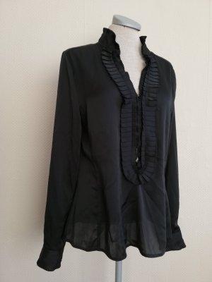 Langarm Bluse schwarz plissiert Gr. UK 12 EUR 40 M L Stehkragen Blusentop Florence&Fred