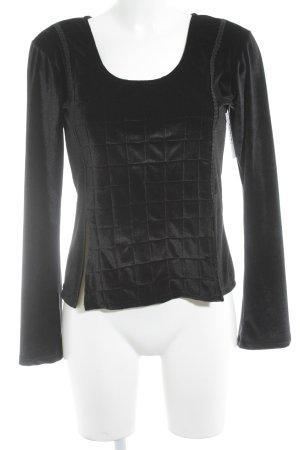 Langarm-Bluse schwarz Samt-Optik