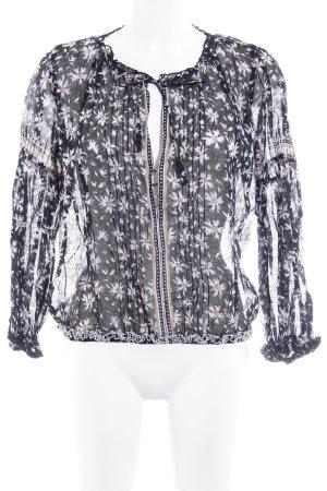 Langarm-Bluse schwarz-weiß Blumenmuster Boho-Look