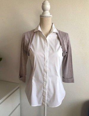 Langarm Bluse von Brunello Cucinelli Weiß-Hellbraun meliert Business Look