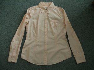 Langarm Bluse von Esprit, Gr. 38, apricot-weiß gestreift
