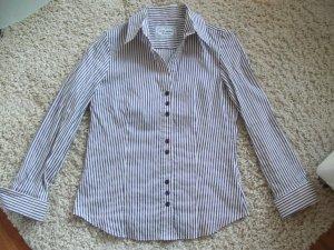 Langarm Bluse von Gerry Weber, Gr. 38, lila - weiß, gestreift
