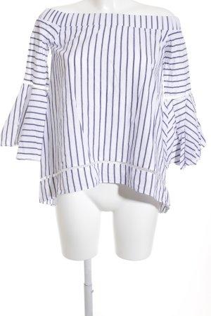 Langarm-Bluse weiß-dunkelblau Casual-Look