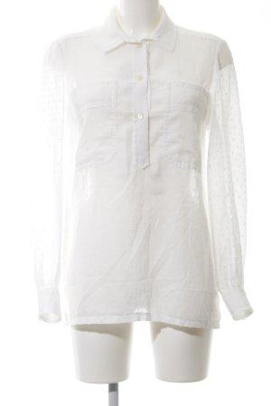 Langarm-Bluse weiß Punktemuster Casual-Look