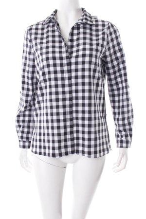 Langarm-Bluse weiß-schwarz Karomuster