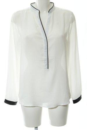 La Petite Parisienne Langarm-Bluse weiß-schwarz schlichter Stil
