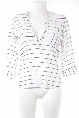 Long Sleeve Blouse white-black striped pattern casual look