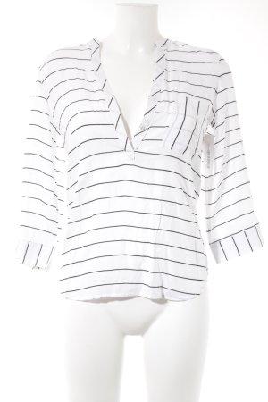 Langarm-Bluse weiß-schwarz Streifenmuster Casual-Look