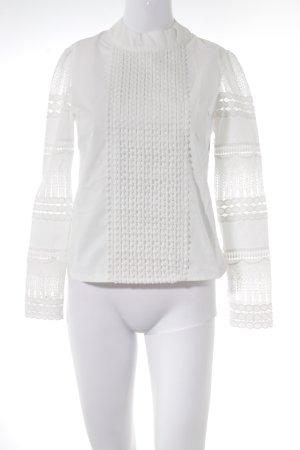Langarm-Bluse weiß Spitzen-Optik