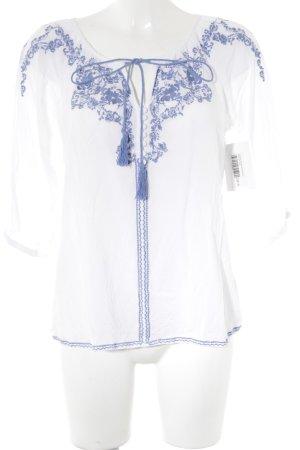 Langarm-Bluse weiß-stahlblau Romantik-Look