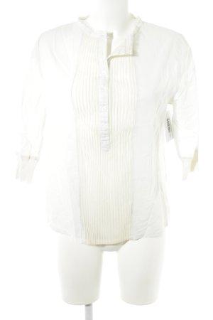 Blusa de manga larga blanco puro-crema estilo romántico