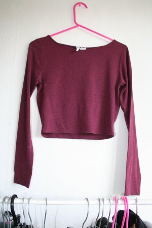 Langarm crop top in bordu rot