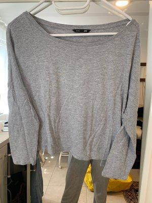 H&M Camisa recortada gris claro