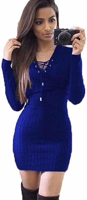 Langarm Feinstrick Pullover Kleid