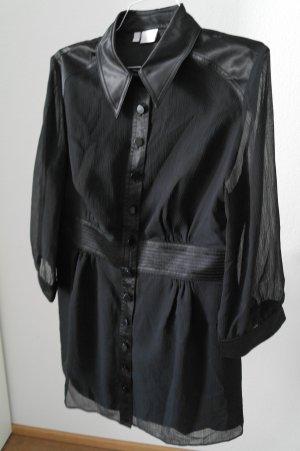 Langarm Hemdblusenkleid mit seidigem Glanz Details