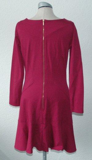 langarm Kleid beere Gr. UK 14 40 M L Godet Rockteil neu kurz Minikleid