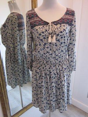 Langarm Kleid Blau Weiss Gr M Viskose