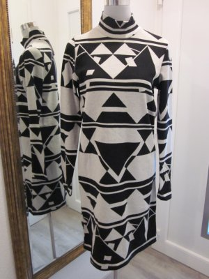 Langarm Kleid Creme Schwarz Gemustert Gr L 42/44