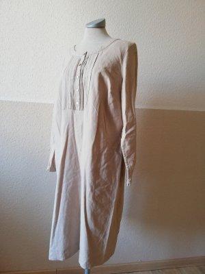 Langarm Kleid Leinenkleid Gr. UK 16 EUR 44 ethno goa hippie Kaftan Hemdkleid Tunikakleid Midikleid beige