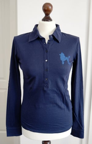 Langarm Polo Shirt von Phard in blau mit Strass und Perlen Applikationen