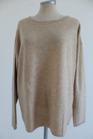 Langarm Pullover 100 % Kaschmir Gr. 42 neu beige