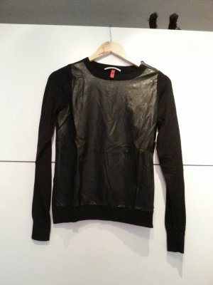 Langarm Pullover, mit ausgefallener Lederoptik