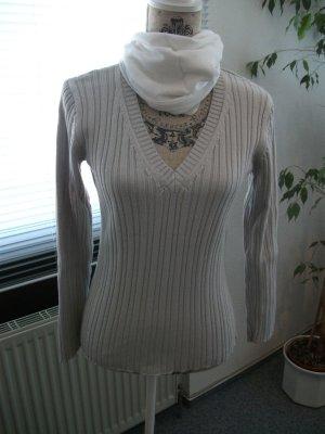 Langarm Pullover mit V-Ausschnitt, Gr. 36, hell grau, Baumwolle