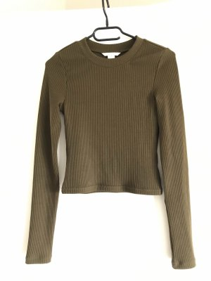 H&M Ribbed Shirt dark green-olive green
