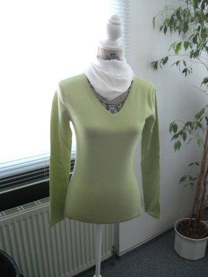 Langarm Rollkragen Pullover mit V-Ausschnitt, Gr. 36, kiwi grün