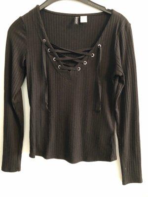 H&M Divided T-shirt col en V noir