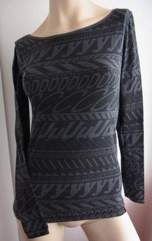 Langarm Shirt Alloverprint Grau Schwarz Gr. XS