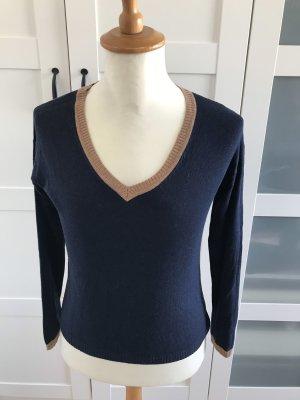 Langarm-Shirt, dunkelblau, beige, V-Ausschnitt, Mango, Gr. S/36