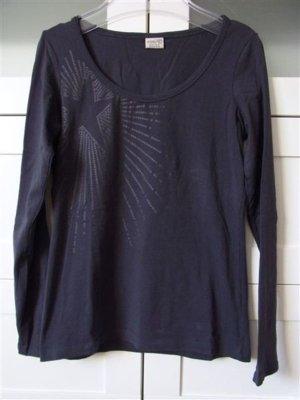 Langarm Shirt Front Print Stern Gr. S Dunkelblau Stretch 1x getragen
