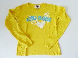 Langarm-Shirt, gelb, mit Aufdruck und Applikation,