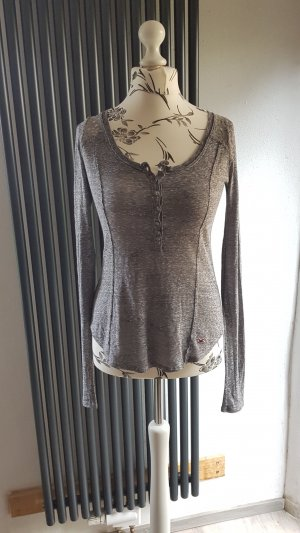 Hollister Gehaakt shirt grijs-donkergrijs Katoen