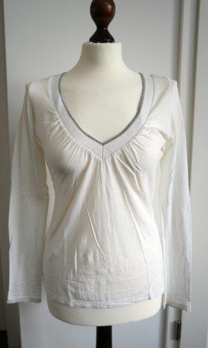 Langarm-Shirt in weiß mit silber von Mango Gr. XS-S