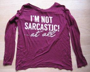 Langarm-Shirt mit Aufdruck von Bershka, weinrot, Gr152