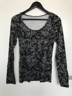 Langarm-Shirt schwarz-grau Rosenmuster Gr. M (passt S)
